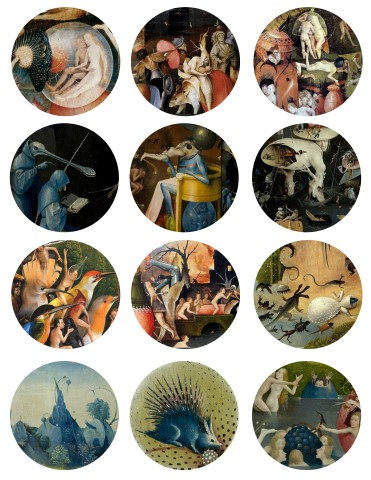 Hieronymus Bosch 2.5 Inch Circles Digital Collage Sheet